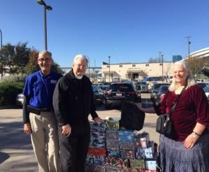 L-R, Union Gospel Mission, the Rev. Stanley Manekis of UGM, and the, Rev. Sandi Michels of St. Elisabeth/Christ the King, Fort Worth