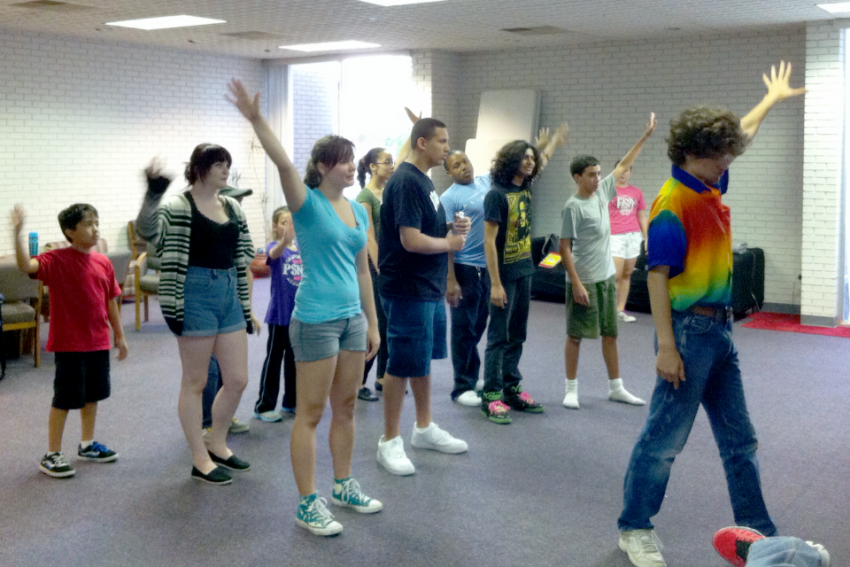 youth rehearsing Seussical Jr.