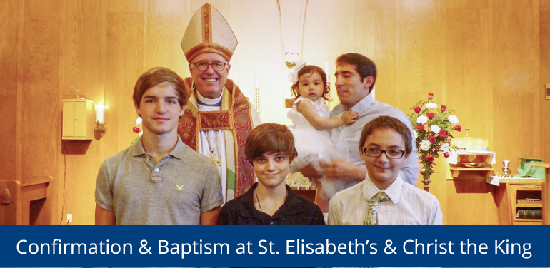 Bishop Scott Mayer of the Episcopal Diocese of Fort Worth after sacraments of baptism and confirmation