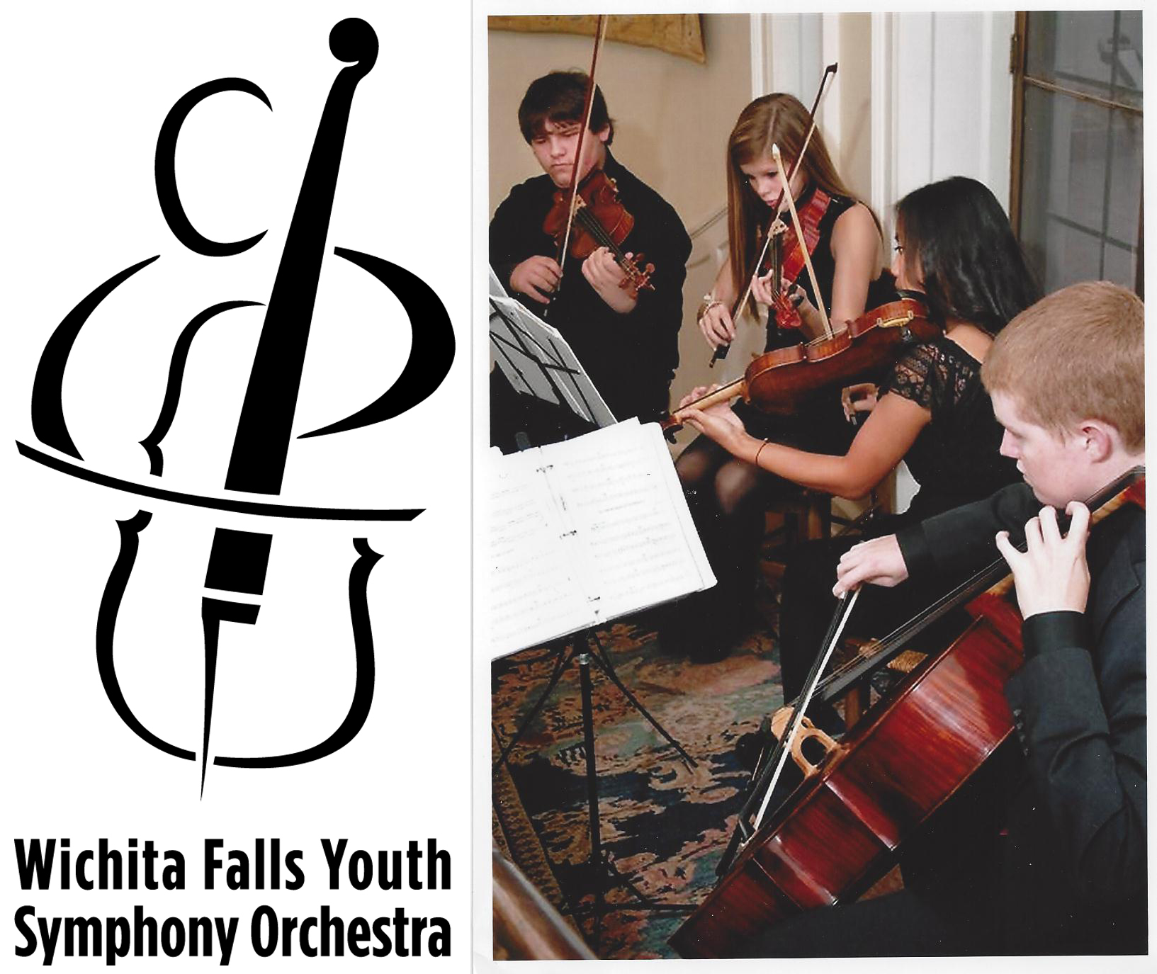 photo of string quartet of Wichita Falls Youth Symphony Orchestra