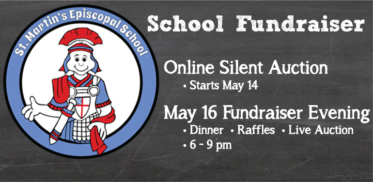 logo and chalkboard image for St. Martin's Episcopal School fundraiser
