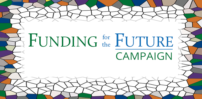 stained glass image with Funding for the Future Campaign as words